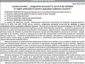 """Lansare proiect : """"Asigurarea accesului la servicii de sănătate în regim ambulatoriu pentru populația județului Suceava"""""""