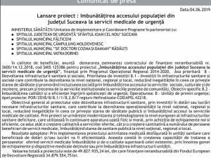 Lansare proiect : Imbunătățirea accesului populației din județul Suceava la servicii medicale de urgență