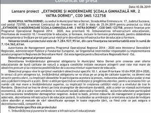 """Lansare proiect  """"EXTINDERE ŞI MODERNIZARE ŞCOALA GIMNAZIALĂ NR. 2 VATRA DORNEI"""", COD SMIS 122758"""