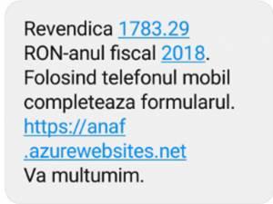 Un exemplu de SMS transmis contribuabililor prin care aceştia sunt informaţi că trebuie să primească bani