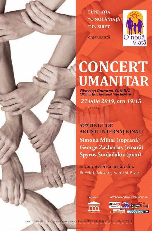 """Concert umanitar organizat de Fundația """"O Nouă Viață"""" din Siret, la  Biserica Romano-Catolică din municipiul Suceava"""