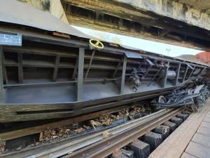 Vagoanele trenului deraiat au fost descărcate și scoase din gabaritul căii ferate