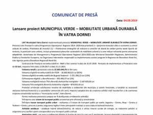 Lansare proiect MUNICIPIUL VERDE – MOBILITATE URBANĂ DURABILĂ ÎN VATRA DORNEI