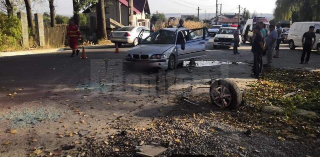 O şoferiţă a pierdut controlul asupra BMW-ului pe care îl conducea şi s-a izbit cu maşina într-un pod
