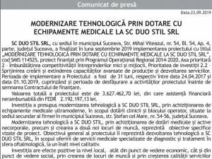 MODERNIZARE TEHNOLOGICĂ PRIN DOTARE CU ECHIPAMENTE MEDICALE LA SC DUO STIL SRL