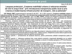 """Lansarea proiectului """"Creşterea mobilităţii urbane şi reducerea emisiilor de CO2 în oraşul Siret – prin introducerea transportului public local şi prin crearea şi modernizarea infrastructurilor de transport, velo şi pietonale"""""""
