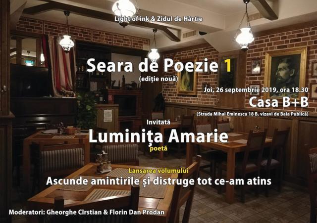 """""""Seara de Poezie"""", joi, cu poeta Luminița Amarie"""