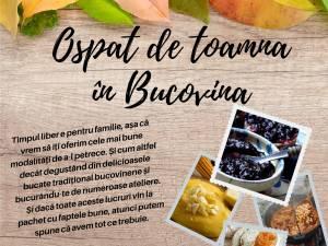"""Ospăț de Toamnă în Bucovina, organizat în scop umanitar, pentru sprijinirea proiectului  """"Ajută un copil să meargă la școală!"""""""