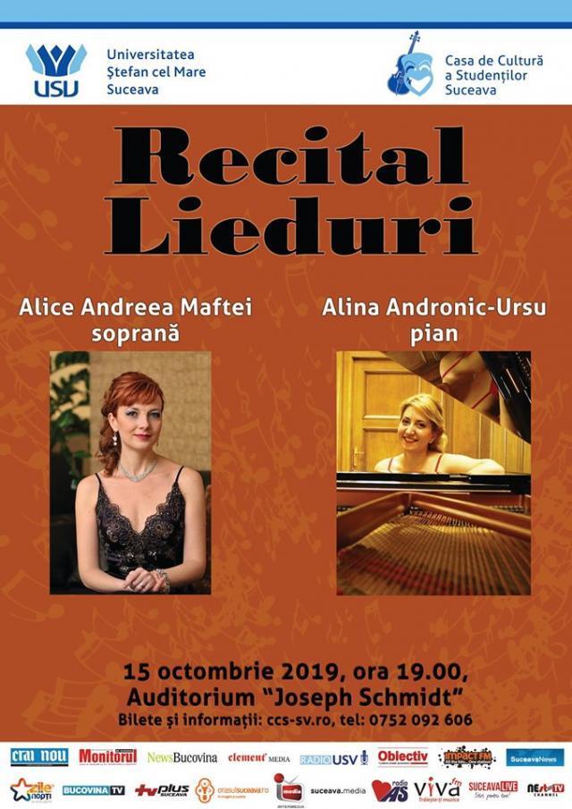Recital de lieduri cu soprana Andreea Maftei şi pianista Alina Andronic Ursu