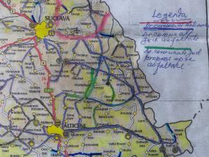 Harta zonei comunelor Udeşti şi Vultureşti. Cu verde au fost marcate variantele de drumuri propuse spre modernizare