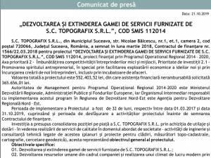 """Titlu proiect: """"DEZVOLTAREA ŞI EXTINDEREA GAMEI DE SERVICII FURNIZATE DE S.C. TOPOGRAFIX S.R.L."""", COD SMIS 112014"""