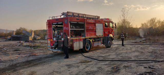Incendiu de vegetaţie, extins la construcţii, în Dărmăneşti