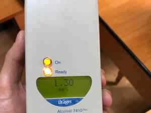 Testat cu aparatul etilotest, rezultatul a fost de 1,36 mg/l alcool pur în aerul expirat