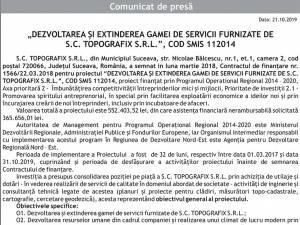 """""""DEZVOLTAREA ŞI EXTINDEREA GAMEI DE SERVICII FURNIZATE DE S.C. TOPOGRAFIX S.R.L."""", COD SMIS 112014"""
