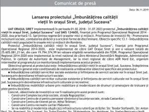 """Lansarea proiectului """"Îmbunătăţirea calităţii vieţii în oraşul Siret, judeţul Suceava"""""""