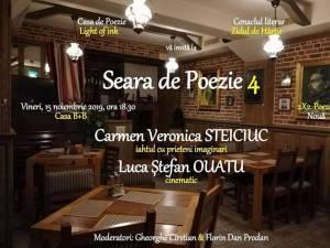 """Poeţii Carmen Veronica Steiciuc şi Luca Ştefan Ouatu, la """"Seara de Poezie"""" de vineri"""