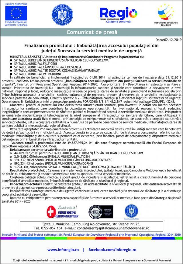 Finalizarea proiectului : Imbunătățirea accesului populației din județul Suceava la servicii medicale de urgență