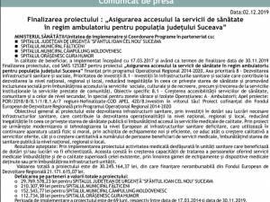 """Finalizarea proiectului : """"Asigurarea accesului la servicii de sănătate în regim ambulatoriu pentru populația județului Suceava"""" - Gura Humorului"""