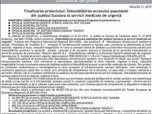 Finalizarea proiectului: Îmbunătățirea accesului populației din județul Suceava la servicii medicale de urgență - Vatra Dornei