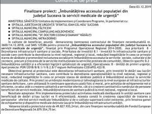 """Finalizare proiect: """"Îmbunătățirea accesului populației din județul Suceava la servicii medicale de urgență"""" - FĂLTICENI"""