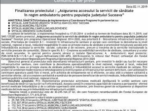 """Finalizarea proiectului : """"Asigurarea accesului la servicii de sănătate în regim ambulatoriu pentru populația județului Suceava"""""""