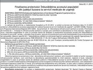 Finalizarea proiectului: Îmbunătățirea accesului populației din județul Suceava la servicii medicale de urgență - RĂDĂUȚI