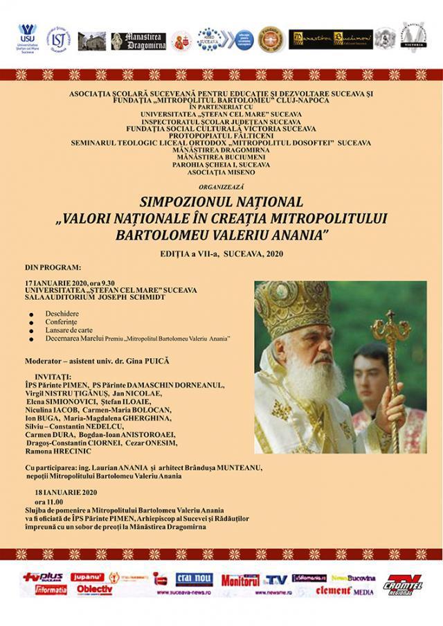 """Simpozionul Național ,,Valori Naționale în creația Mitropolitului Bartolomeu Valeriu Anania"""", ediția a VII-a"""
