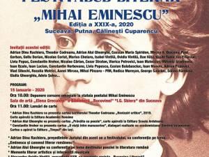 """Miercuri debutează la Suceava Festivalul Literar """"Mihai Eminescu"""", ediția a XXIX-a"""