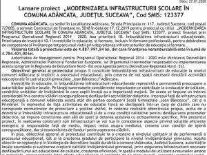 """Lansare proiect  """"MODERNIZAREA INFRASTRUCTURII ŞCOLARE ÎN COMUNA ADÂNCATA, JUDEŢUL SUCEAVA"""",  Cod SMIS: 123377"""