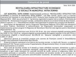 REVITALIZAREA INFRASTRUCTURII ECONOMICE ŞI SOCIALE ÎN MUNICIPIUL VATRA DORNEI