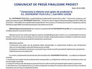 """""""Construirea şi dotarea unui spaţiu de producţie la S.C. DISTRIDENT PLUS S.R.L."""", Cod SMIS 114128"""