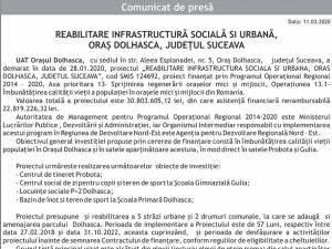 REABILITARE INFRASTRUCTURĂ SOCIALĂ SI URBANĂ, ORAȘ DOLHASCA, JUDEȚUL SUCEAVA