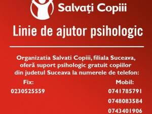 Suport psiho-emoțional și social gratuit, oferit de echipa Salvați Copiii - Filiala Suceava, pentru copiii și părinții afectați de noua pandemie