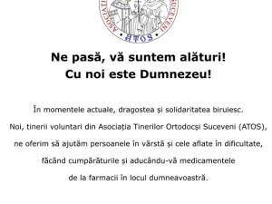 Voluntarii Asociației Tinerilor Ortodocși Suceveni (ATOS) continuă să ajute bătrânii neputincioși