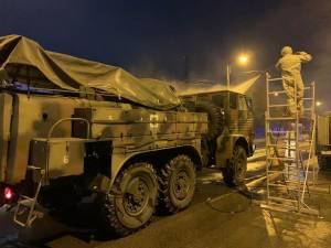Operațiune de dezinfecție a străzilor din Suceava cu Batalionul 202 Apărare CBRN - Intervenție la Dezastre
