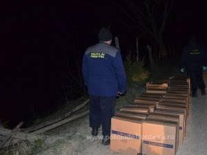 Una dintre cele două capturi de ţigări de contrabandă