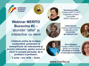 Al doilea atelier online de învăţare colaborativă, de la profesori la profesori, organizat de Comunitatea Merito Bucovina