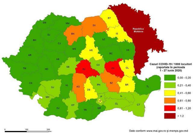 Suceava a ieșit, în luna iunie, din topul noilor îmbolnăviri COVID-19