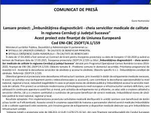 """Lansare proiect: """"Îmbunătăţirea diagnosticării - cheia serviciilor medicale de calitate în regiunea Cernăuţi şi Judeţul Suceava"""""""