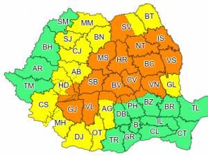 Două zile de cod portocaliu și cod galben de vreme rea în județul Suceava