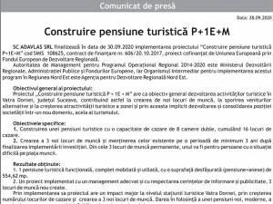 Construire pensiune turistică P+1E+M