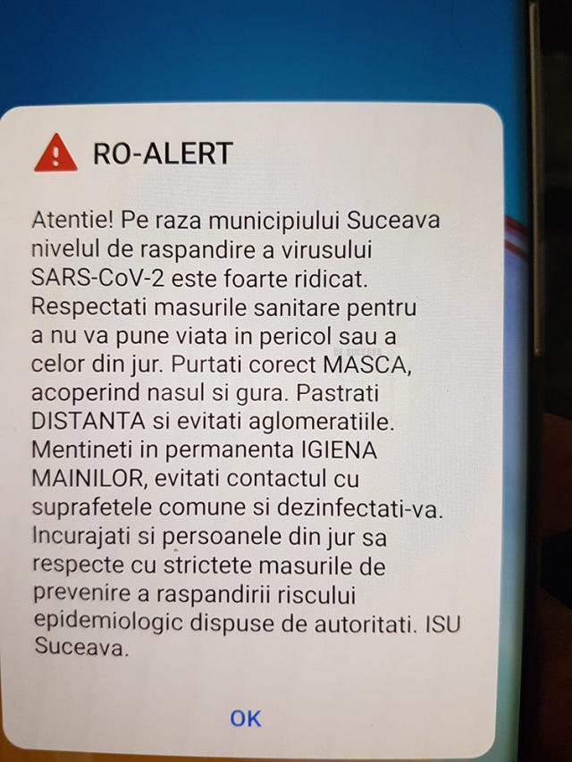 Mesaj Ro-Alert pe telefoanele sucevenilor, din cauza pericolului COVID