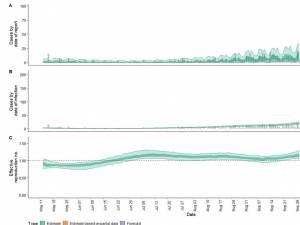 Simularea realizată pentru săptămâna următoare (violet) arată o tendință de creștere a numărului de cazuri la nivelului municipiului Suceava
