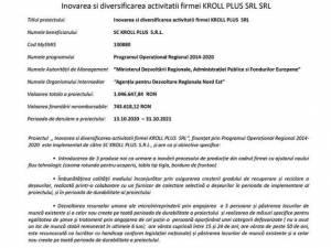 Inovarea si diversificarea activitatii firmei KROLL PLUS SRL SRL