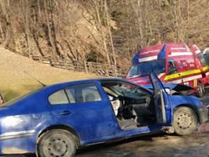 Autoturismul Skoda implicat in accident