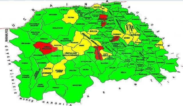 A crescut numărul localităților sucevene care sunt în scenariul roșu