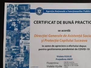 """""""Certificat de bună practică"""" primit de DGASPC Suceava"""