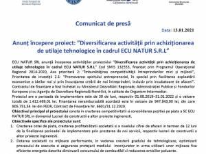 """Anunț începere proiect: """"Diversificarea activității prin achiziționarea de utilaje tehnologice în cadrul ECU NATUR S.R.L"""""""