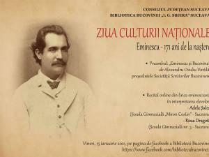 """""""Eminescu – 171 de ani de la naștere"""", eveniment online, la Biblioteca Bucovinei"""