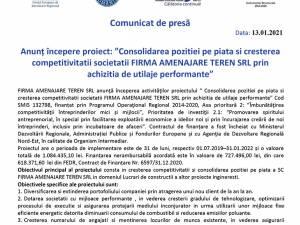 """Anunț începere proiect: """"Consolidarea pozitiei pe piata si cresterea competitivitatii societatii FIRMA AMENAJARE TEREN SRL prin achizitia de utilaje performante"""""""